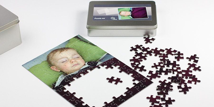 Foto-Puzzle mit Metallbox